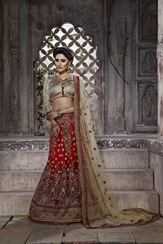Da Facioun Net Fabric Red Pretty Lehenga Style With Embroidery Work Dupatta 79586