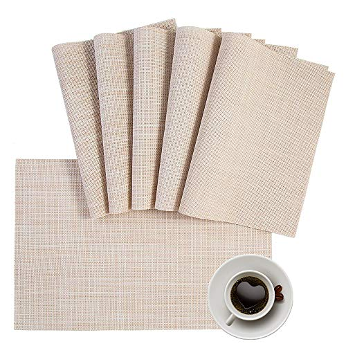 DOLOPL Placemats, PVC Table Mats,Placemat Sets of 6 Non-Slip Washable Coffee Mats,Heat Resistant Kitchen Tablemats (Beige)