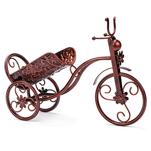 ZLSD Bicycle Wine Bottle Holder Countertop Metal Wrought Iron Wine Holder/Rack, Crafts, Tricycle Art Home Décor, Antique Bronze, 37×25 - Wine Bottle Wrought Iron Holders