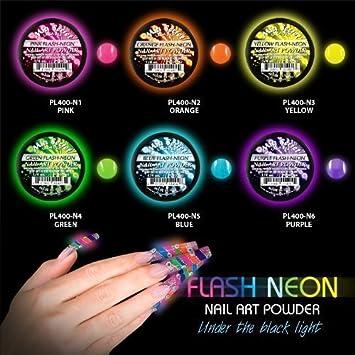Amazon.com: 6 Mia Secret Flash Neon Acrylic Nail Art Powder Glows ...