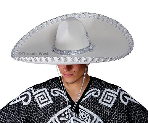 Mariachi Hat (Premium Adult Mariachi Sombrero Charro Hat, Mexican Hat (White Plain and)