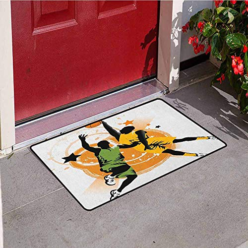 GloriaJohnson Basketball Commercial Grade Entrance mat Image of Two Basketball Players in A Heated Game Rings Stars in The Background for entrances garages patios W15.7 x L23.6 Inch Orange Green
