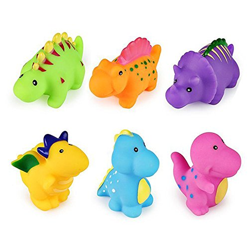 Set of 6 Dinosaur Water Bath Toy, Squirt Floating Bathtub Rubber Animal for Toddler