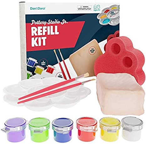 Includes: 1 Lb Works with All Brands 6 Color Vials Paint Palette Instruction Guide Air-Dry Clay Sponge Kids Pottery Clay Set Dan/&Darci Pottery Studio Refill Kit 2 Paintbrushes