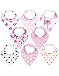 KiddyStar Bandana Baby Drool Bibs for Girls, 8-Pack Bib Set for Drooling and Teething, 100% Organic Cotton, Soft and Absorbent, Baby Shower Gift for Newborn Babies and Toddlers BOBEBE Online Baby Store From New York to Miami and Los Angeles