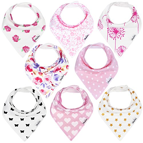 KiddyStar Bandana Baby Drool Bibs for Girls, 8-Pack Bib Set for Drooling and Teething, 100% Organic Cotton, Soft and Absorbent, Baby Shower Gift for Newborn Babies and Toddlers
