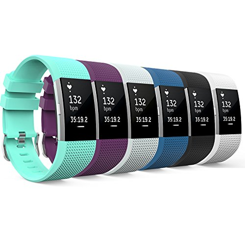 MoKo Fitbit Charge 2 Band, [6 PCS] Soft Silicone Adjustable Replacement Strap for Fitbit Charge 2 Smartwatch Heart Rate Fitness Wristband, Wrist Length 5.11