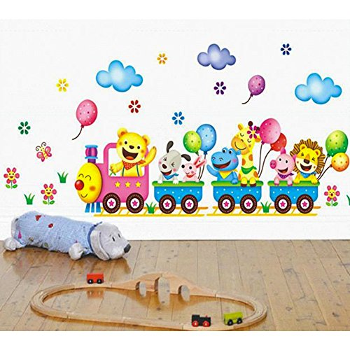 DIY Removable Cute Cartoon Animals Wall Stickers Decal With Trains & Ballons for New Born Baby and Children Bedroom