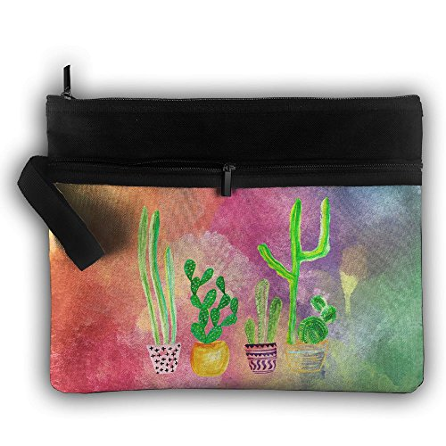 Cacti Cactus Love Artical Double Layers Zipper Cosmetic Bag Makeup Brush Holder Bag by Loddgew (Image #1)