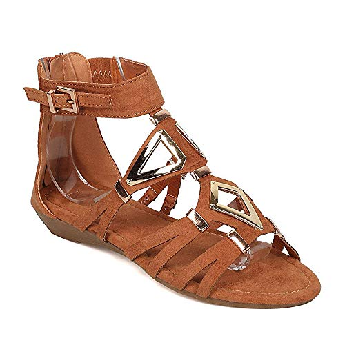 (ShoBeautiful Womens Cut Out Back Zip Ankle Strap Wrap Triangle Gladiator Flat Wedge Sandals Tan 6)
