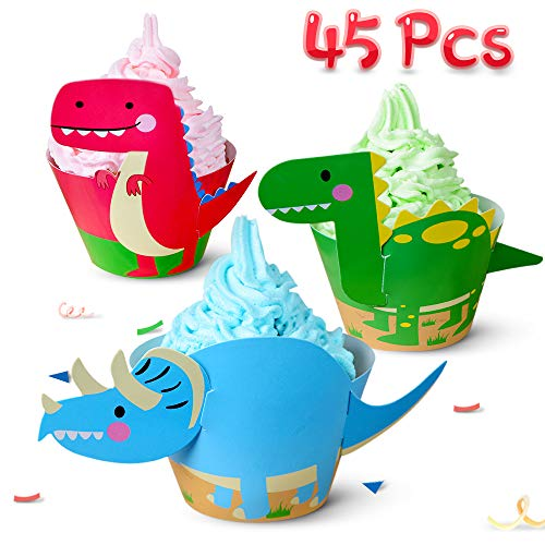 Dinosaur Cupcake Toppers Wrappers Decorations Party Supply Jurassic T Rex Triceratops Spinosaurus Cake Decoration