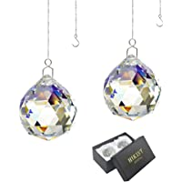 Rainbow Suncatcher Crystal Ball Prism - Window Suncatcher Feng Shui Crystal Glass Ball Pendant 40mm for Hanging Clear…
