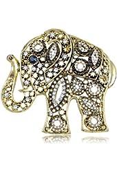 Antique Golden Indian Rhinestone Embellish Elephant Fashion Pin Brooch