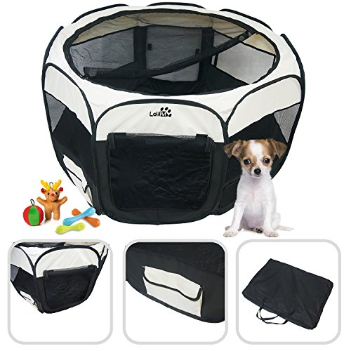 Large pet play pen for indoor and outdoor use – Easy to assemble – Puppies' Black play pen