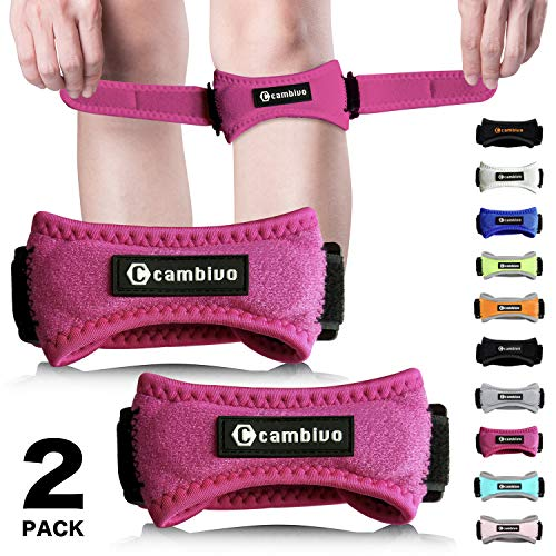 CAMBIVO Patella Knee Strap, 2 Pack Pain Relief Knee Brace & Patellar Tendon Support Band for Running, Hiking, Volleyball, Jumpers Knee, Tendonitis, Arthritis and Injury Recovery (Pink)
