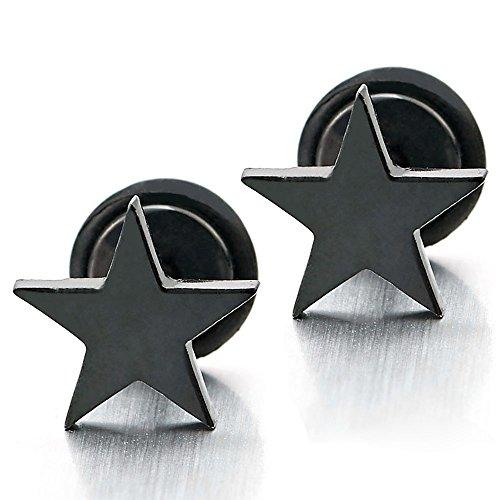 Stainless Steel Black Plain Earrings