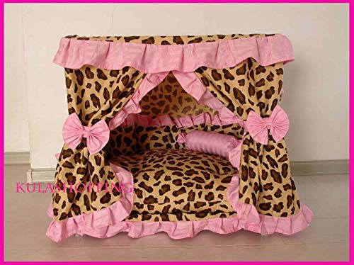 Medium FidgetFidget Princess Pet Dog Cat Handmade Bed House Leopard Print with Pink Frill Medium