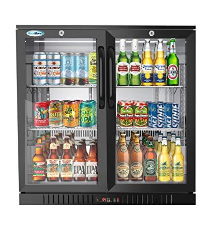 Koolmore 2 Door Back Bar Cooler Counter Height Glass Door Refrigerator with LED Lighting – 7.4 cu.ft.