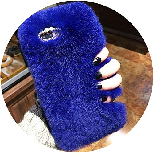 Luxury Rabbit Fur Case for iPhone 8 7 6 6S Plus SE 5 5S Cover Fashion Bling Diamond Winter Soft Furry Shell Plush Phone Cases,Blue,for iPhone ()