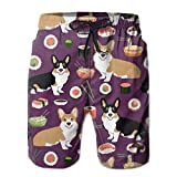 HYEECR Corgi Love Noodles and Sushi Customized Summer Casual Beach Board Shorts Pants for Men Boys