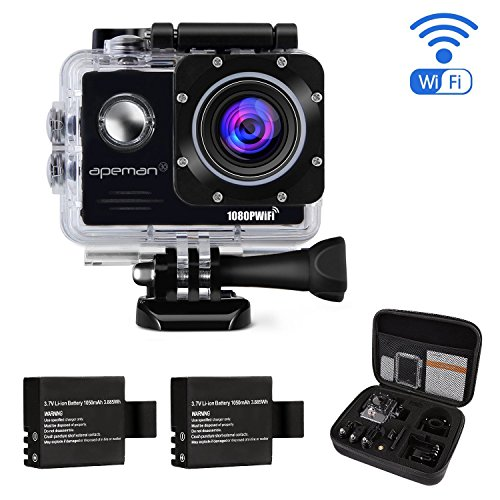 APEMAN Action Camera 14MP FHD 1080P Wi-Fi Waterproof Sport Camera 2.0 Inch LCD Display, 170 Ultra Wide-Angle Lens, 2 Rechargeable 1050mAh Batteries, Portable Package Include Full Accessories Kits