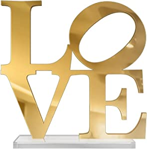 4ArtWorks - 3D Love Word Tabletop Art Décor (Gold Mirror Finish) for Dorm Rooms, Living Spaces, Bedrooms, Modern Offices & Desks with Transparent Acrylic Base | Great Gift Idea (6x6x1 in.)