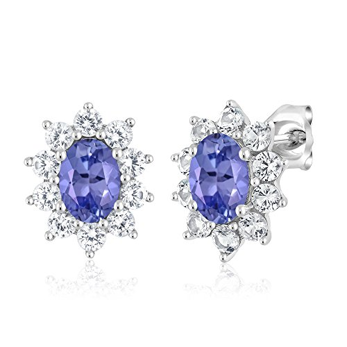 10K White Gold 1.70 Ct Blue Tanzanite Women's Oval Halo Stud Earrings