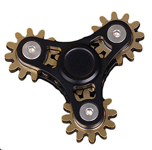 Aestheticven Hand Spinner Brass Gear Metal Fidget Spinner Brass Aluminum Body Finger Spinner Toy Stress Reducer (Black-2)