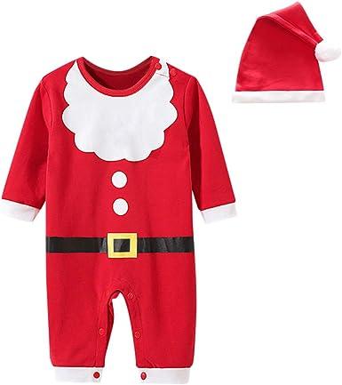 2 Piezas Navidad Conjuntos de Traje Ropa Bebes Recién Nacido de Santa Claus, Mameluco de Bebe Niños Invierno + Sombrero, Monos Niñas Pijama