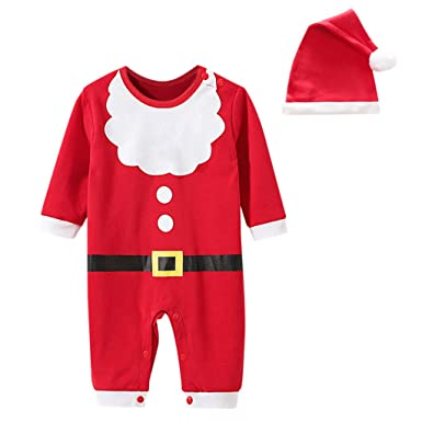 2Pcs Christmas Newborn Baby Girls Boys Rompers Jumpsuit+Hat Outfits Clothes Set