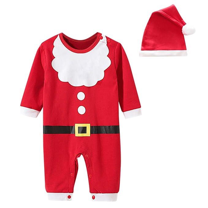 2 Piezas Bebé Traje De Navidad Mameluco Mameluco + Gorra ...