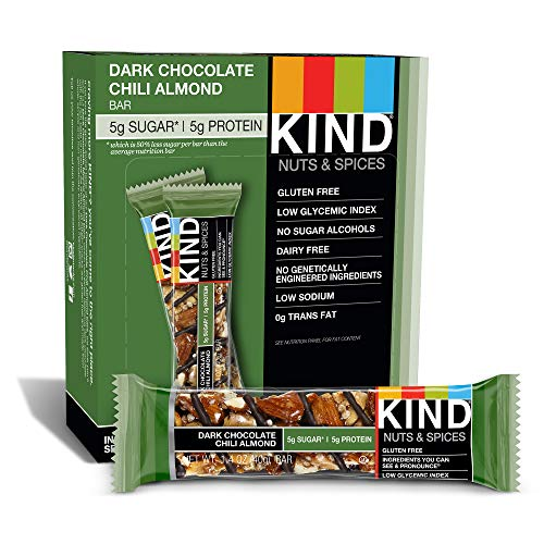 KIND Bars, Dark Chocolate Chili Almond, Gluten Free, Low Sugar, 1.4oz, 12 Count