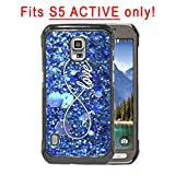 S5 ACTIVE - Infinity Sign Love BLUE COLOR Glitter Samsung GALAXY S5 Active (SM-G870A) Hard Plastic Phone Case - FITS S5 ACTIVE ONLY!