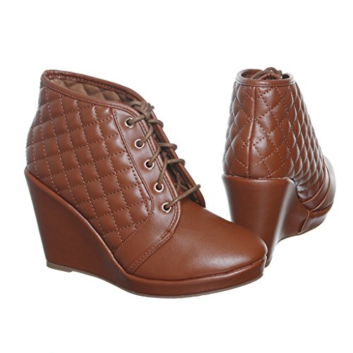 shoewhatever Frauen PL Hi-Top Wedge Schnür Mode Turnschuhe 01 Tan