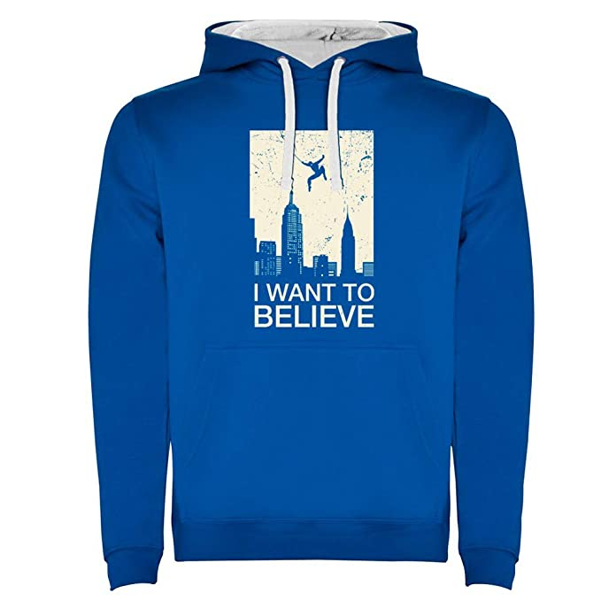 Sudadera con Capucha Divertida I Want to Believe in Hero -Serigrafía: Amazon.es: Ropa y accesorios