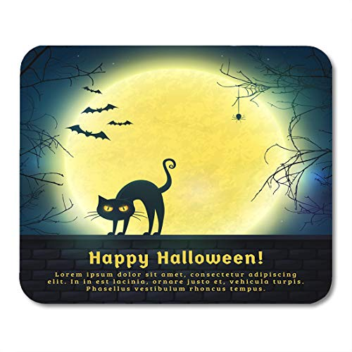 Nakamela Mouse Pads Happy Halloween with Full Moon and Evil Cat Spooky Night with Copy Space for Greetings Promo Text Mouse mats 9.5