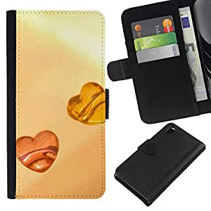 Planetar® Modelo colorido cuero carpeta tirón caso cubierta piel Holster Funda protección Para Sony Xperia Z3 D6603 ( Love Amber Love )