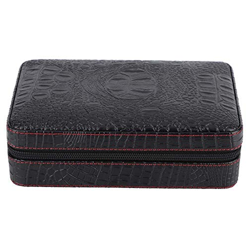 Garosa Cigar Humidor Case Crocodile Grain Portable Travel Outdoor Humidor Case Cigar Holder Storage Box Holds Cedar Wood Faux Leather Box Gift Set Black