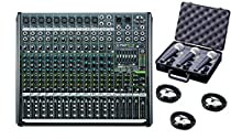 Mackie PROFX16V2 16-Channel 4-Bus Compact Mixer with USB and Effects bundled with 3 mics, case and cables