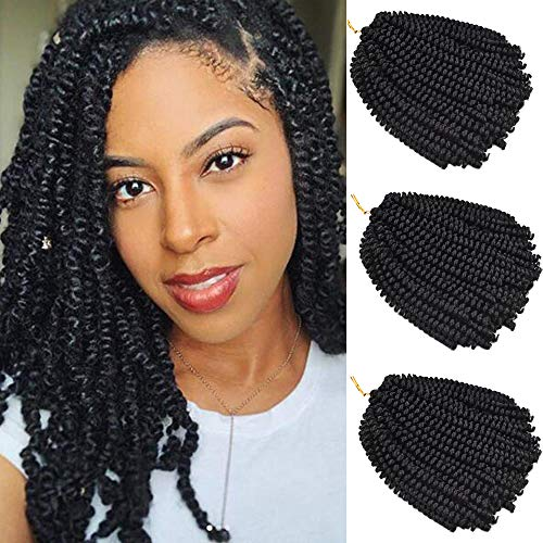 Leeons 3 Packs 8 Inch Fluffy Twist Hair Spring Twist Hair Braiding Ombre Colors Bomb Twist Hair Passion Twist Hair Ombre Crochet Braids Synthetic Braiding Hair Extensions (#1B-Black)