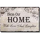 "Wood Wall Sign Plaque ""Bless Our Home with Love and Laughter"" Light Gray Black"