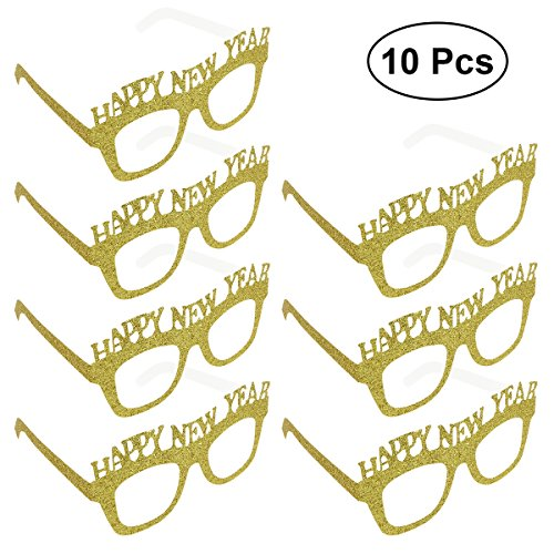 LUOEM 10-Pack Happy New Year Eyeglasses New Year Party Glasses Fancy Decorative Eyeglasses Glitter Frame Prop for 2019 New Years Eve Party Decors