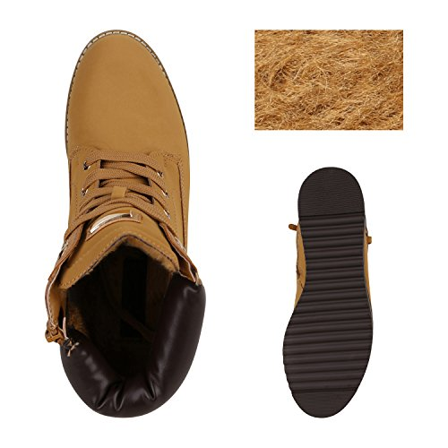 Stiefelparadies Damen Plateau Sneaker High Warm Gefütterte Sneakers Wildleder-Optik Winter Schuhe Plateauschuhe Schnürer Flandell Hellbraun Schnallen