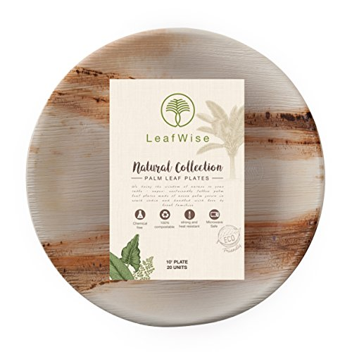 Price comparison product image Round Palm Leaf Plates by LeafWise / Premium Disposable Dinnerware - Wise Solution For Parties,  Weddings,  BBQs,  Buffets and Dinner Events - 20 Pack / 10 Inch