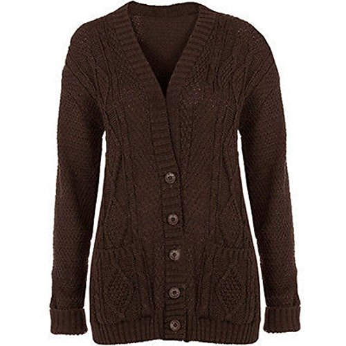 OgLuxe Women's Ladies Long Sleeve Pocket Cable Knit Chunky Cardigan Size 6-24 (L/XL (UK 16-18 EU 44-46 US 12-14), Brown)