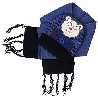 Trifolium - Ensemble bonnet, écharpe et gants - Garçon - bleu - Taille  unique d7e9ed6e00c
