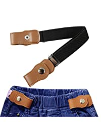 "No Buckle Buckle-Free Elastic Kids Belts for Toddler Boys Girls, KOBWA Stretch Belts,Adjustable Invisible Waist Strap Without Buckle for Cowboy Jeans Pants/Dresses,24"", Multi-Colored,Black,White,Red"