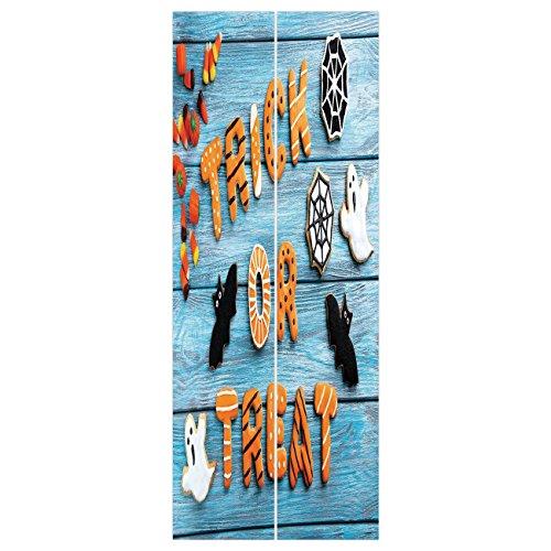 3d Door Wall Mural Wallpaper Stickers [ Vintage Halloween,Trick or Treat Cookie Wooden Table Ghost Bat Web Halloween,Blue Amber Multicolor ] Mural Door Wall Stickers Wallpaper Mural DIY Home -