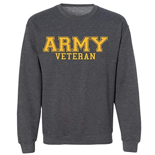 (Army Veteran Gold Logo Military Style PT Crewneck Sweatshirt in Dark Heather - X-Large)
