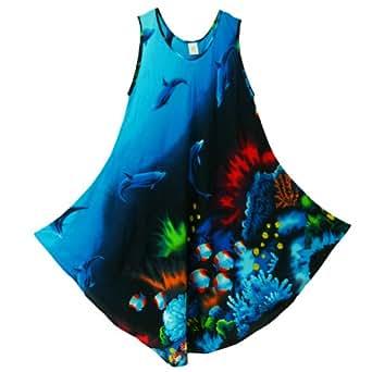 Pikulla Half Moon Sleeveless Women's Ocean Dolphin Gypsy Sundress Turquoise X-Large